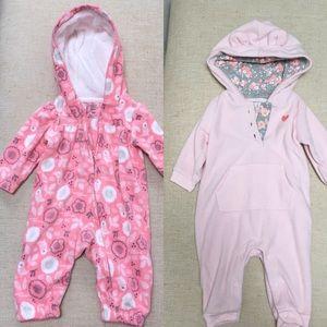 2 baby girl fleece bodysuits